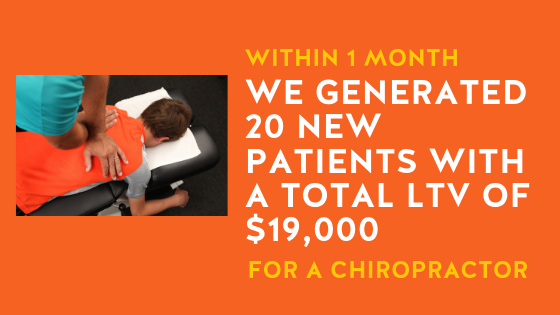 Facebook ad campaign results for Chiropractor