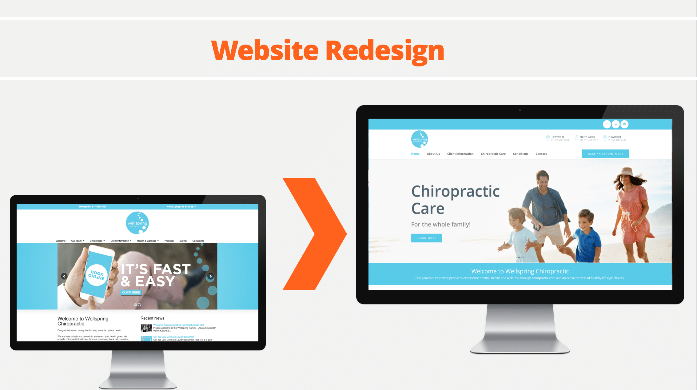 Website redesign image for chiropractor